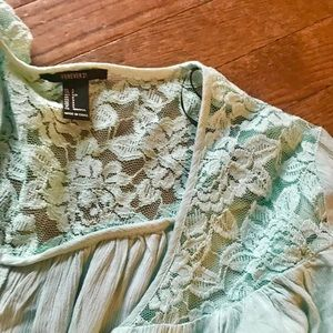 Forever 21 blouse.  Lace.  Buttons. Bell Sleeve